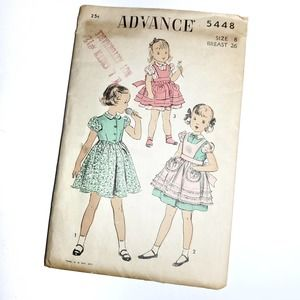 Vintage | Sewing Pattern Girls Dress and Apron 8